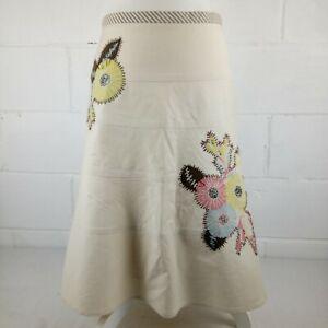 BCBG-MAXAZRIA-A-Line-Skirt-Women-Size-8-Cream-Embellishment