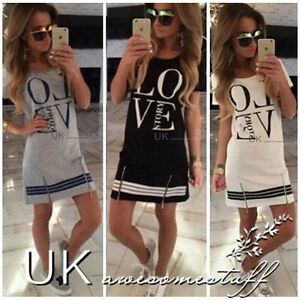 UK-Womens-Ladies-Summer-Shrot-Sleeve-Letter-Printed-T-Shirt-Mini-Dress-Size-6-14