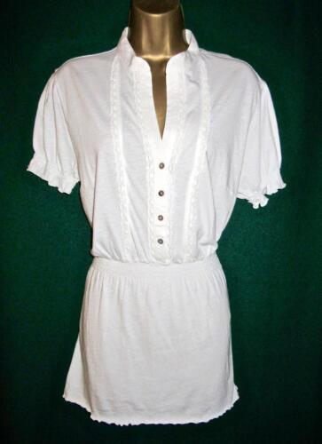 pizzo shirt Top con in e Uk 14 Benetton cotone elasticizzato Top Grande bordo in t 16 avorio xrCqOScwYC