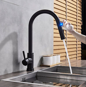Details About Single Handle Touch Kitchen Sink Faucet With Pull Down Sprayer Matte Black Tap