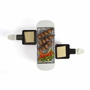 Appareil à Raclette 2 Personnes Grill Pierre Granite Amovible 350 Watts Blanc