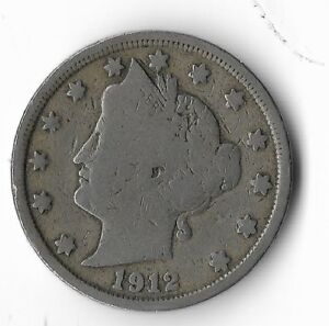 Rare-Very-Old-Antique-1912-US-Liberty-V-Nickel-Collection-Coin-USA-Cent-Money-K6