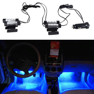 4-X-3-LED-12-V-DC-Coche-Auto-Ambiente-Interior-Luces-Decoracion-Lampara-Azul-LED-de-ventas