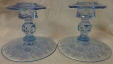 "Rosalie Blue Candlestick Pair 4"" Cambridge Glass Company"
