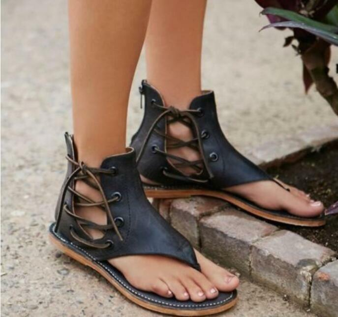 Gladiador Para Mujeres Con Cordones Cuero Hueco Hueco Hueco Retro Zapatos Sandalias Ojotas de Roma  mejor reputación