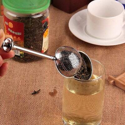 Ball Push Style Tea Leaf Herbal Locking Infuser Strainer Teaspoon Filter I5