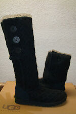 UGG LATTICE CARDY TRIPLET KNIT BLACK BOOT sz  US 6 / EU 37 / UK 4.5