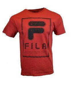FILA-MENS-T-Shirt-S-M-L-XL-2XL-Logo-Sports-Athletic-Apparel-Graphic-Tee-RED-NEW