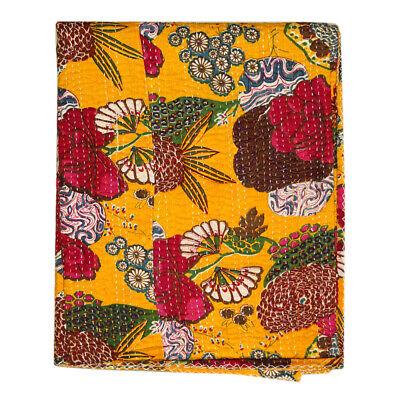 Vintage Kantha Quilt Indian Handmade Throw Reversible Blanket Bedspread Cotton