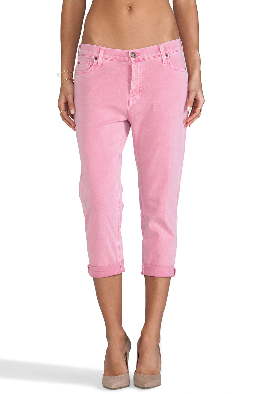 Sz 29 Hudson DAX Boyfriend Crop Jeans Women's in Damsel Distress Wash Denim