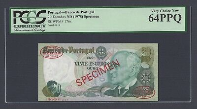 Portugal Banknotes  20 Escudos 1978 P176A  UNCIRCULATED PREFIX AXH