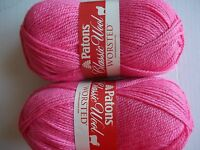 Patons Classic 100% Wool Yarn, Pretty In Pink, Lot Of 2 (210 Yds Each)