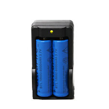 2PCS 3.7v 6000mAh 18650 Rechargeable Li-ion Battery + Dual Charger USA