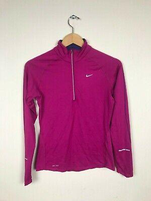 Appena Nike Dri-fit Donna Maglia Pullover Taglia S Sport 3/4 Zip Dolcevita Element Rosa
