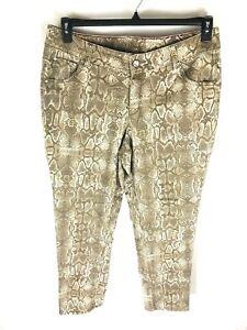 Lane-Bryant-Womans-Jeans-Sz-18-Slim-Snake-Print-Rhinestones-Stretch-Denim