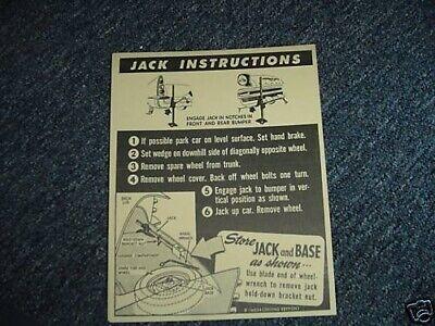 Mopar 60 Chrysler DeSoto Jack Instruction Decal NEW DD0137 1960