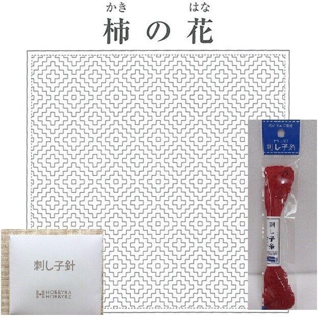 STARTER SET Embroidery  SASHIKO Kit HANA FUKIN KAKINOHANA with Needle Thread