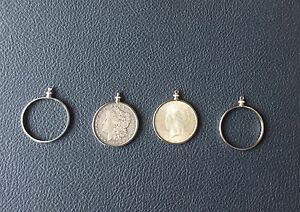 6 SILVER PLATED RHODIUM SCREW TOP HOLDERS BEZELS HOLDS MORGAN COIN DOLLARS