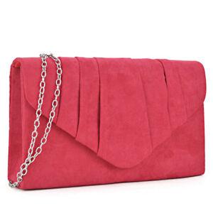 Women Velvety Evening Clutch Wallet Purse Handbag Envelope Shoulder Bag w/ Strap