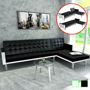 vidaXL-L-shape-Sofa-Bed-Artificial-Leather-Lounge-Seating-Home-Black-White