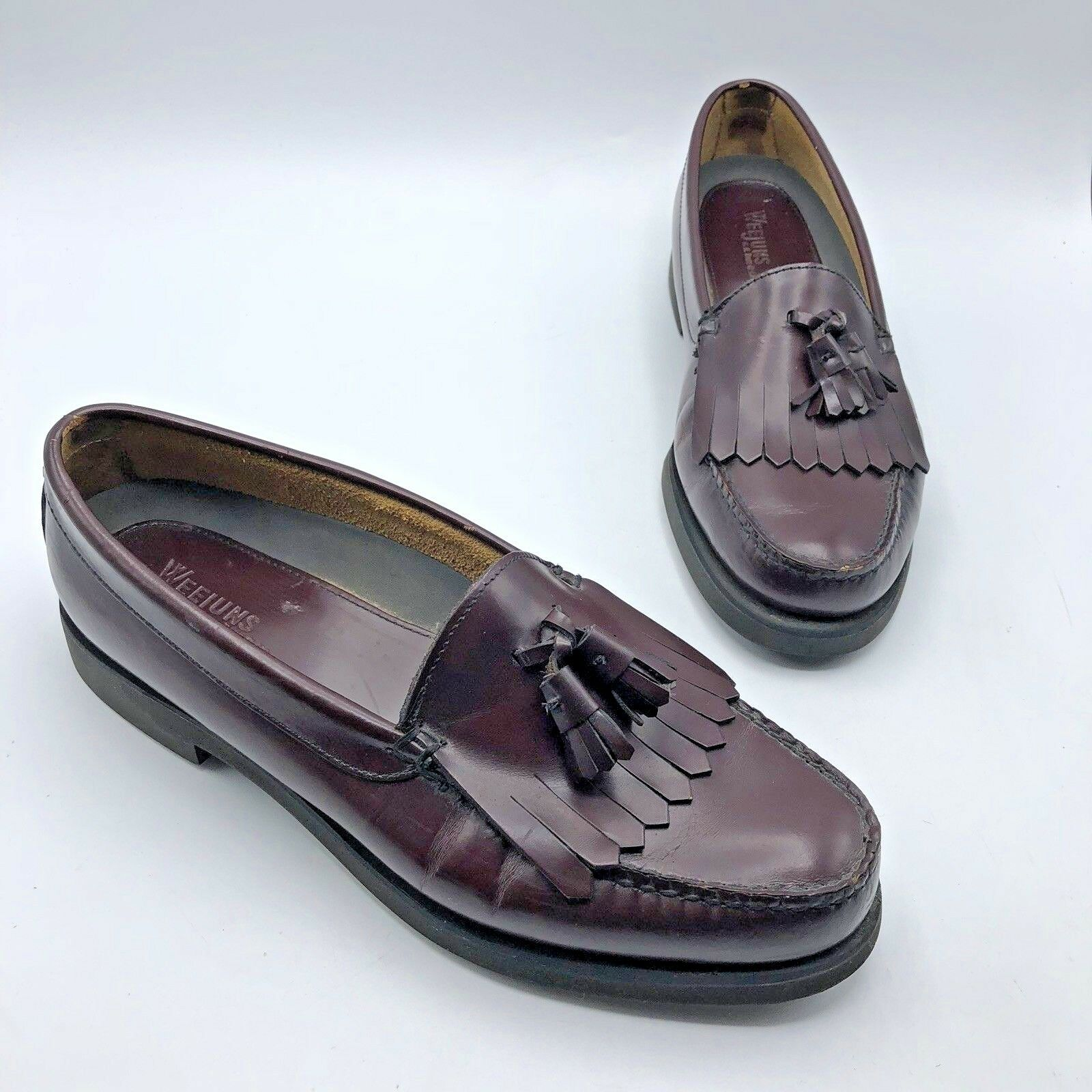 Weejuns 071081 Men Brown Leather Tassle Loafer shoes Size 10M Pre Owned