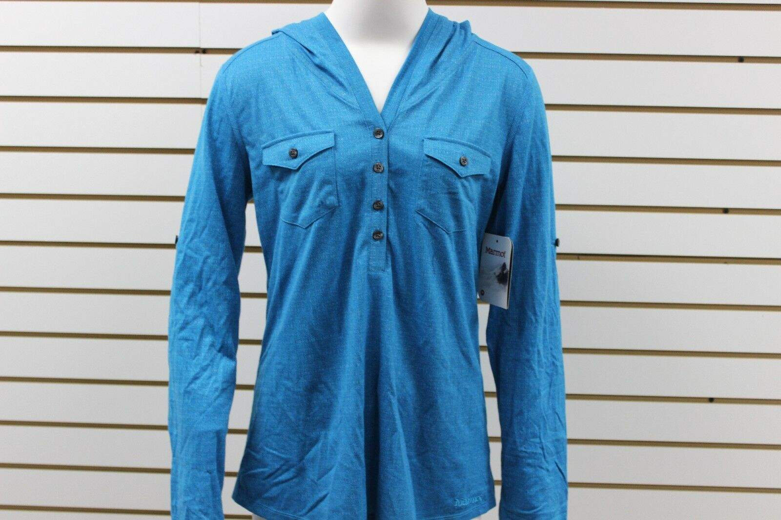 Women's Marmot Laura 1 2 Button-Up Long Sleeve Aqua bluee 57420 New With Tag