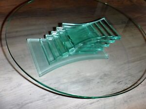Beautiful-PartyLite-Mid-Century-Glass-Cake-Tray-Plate-Pedestal-Stand-6-Tier-Base