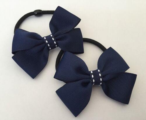 2 Packs Of Double Ribbon Navy Hair Bow Bobbles//hair Accessorise//School Uniform