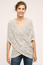 Anthropologie cabled crossover sweater NWT new size  XS/S GRAY