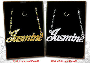 978a85f8c9981 Details about Name Necklace JASMINE 18k Gold Plated Personalized Gifts  Fashion Jewelry