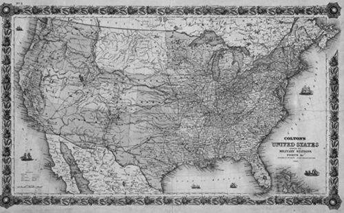 1861 UNITED STATES MAP RHODE ISLAND SOUTH CAROLINA DAKOTA TENNESSEE TEXAS UTAH