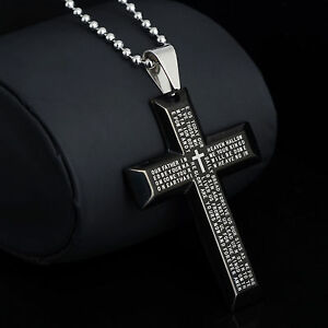 New-Gift-Unisex-039-s-Men-Stainless-Steel-Cross-Pendant-Black-Silver-Bible-Necklace