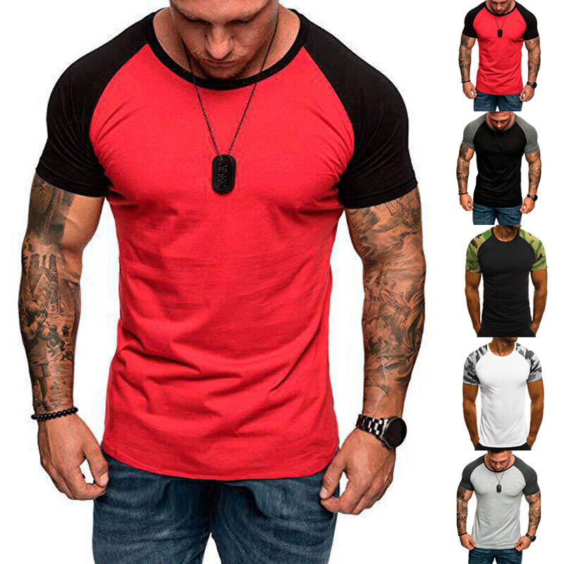 Men/'s Short Sleeve Top Camouflage Printed Slim Fit Sport Muscle Gym Tee T-shirts
