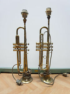 Um 1920 2 Alte Trompeten Trumpet Als Tichslampen Umgebaut 2 Trumpets