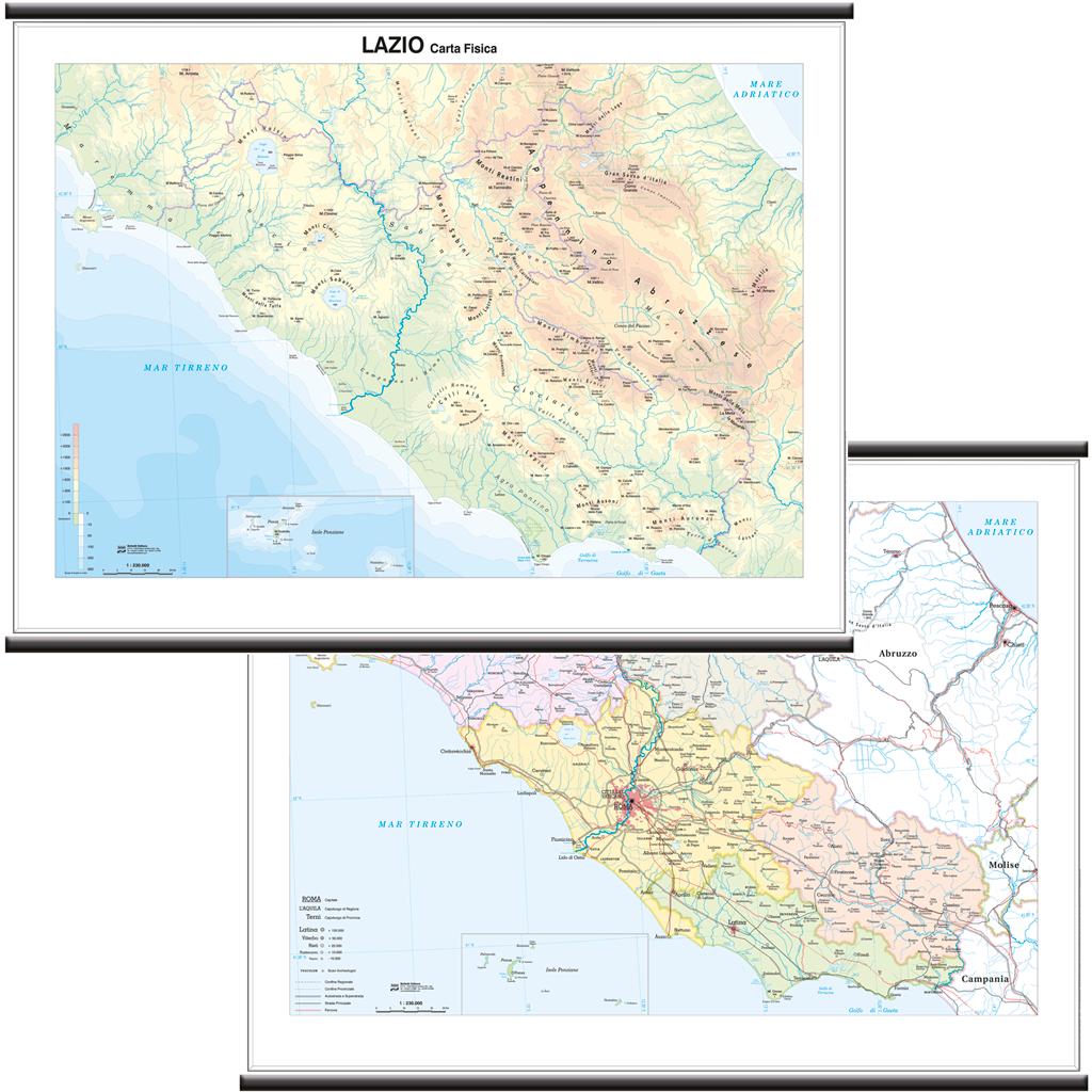 Cartina Sicilia Fisico Politica.Lazio Cartina Regionale Murale Bi Facciale 132x99 Cm Carta