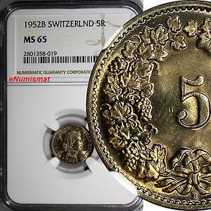 SWITZERLAND-Copper-Nickel-1952-B-5-Rappen-NGC-MS65-HELVETICA-Toning-KM-26