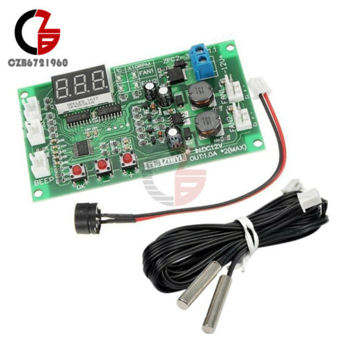 12V Fan Dual Ways 3-wire Digital Display Temperature Thermostat Speed Controller