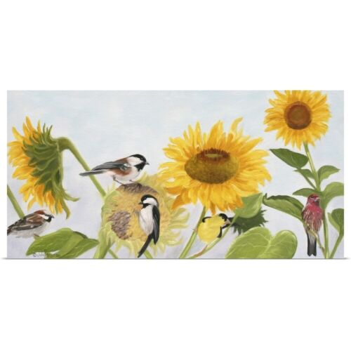 Sunflowers And Birds Poster Art Print Bird Home Decor