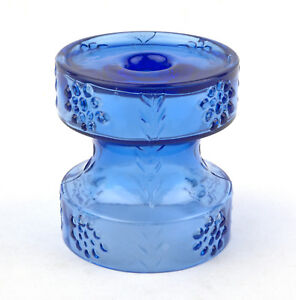 Riihimaki-Glass-Riihimaen-Lasi-Blue-Mesimarja-1965-Candle-by-Tamara-Aladin