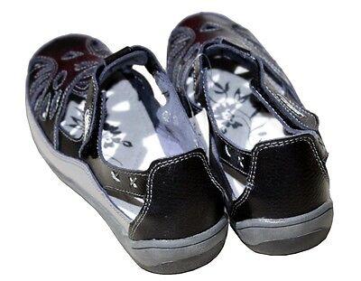 Damen Echte Leder Schuhe Mokassins Slipper Freizeitschuhe in Schwarz DEP1d