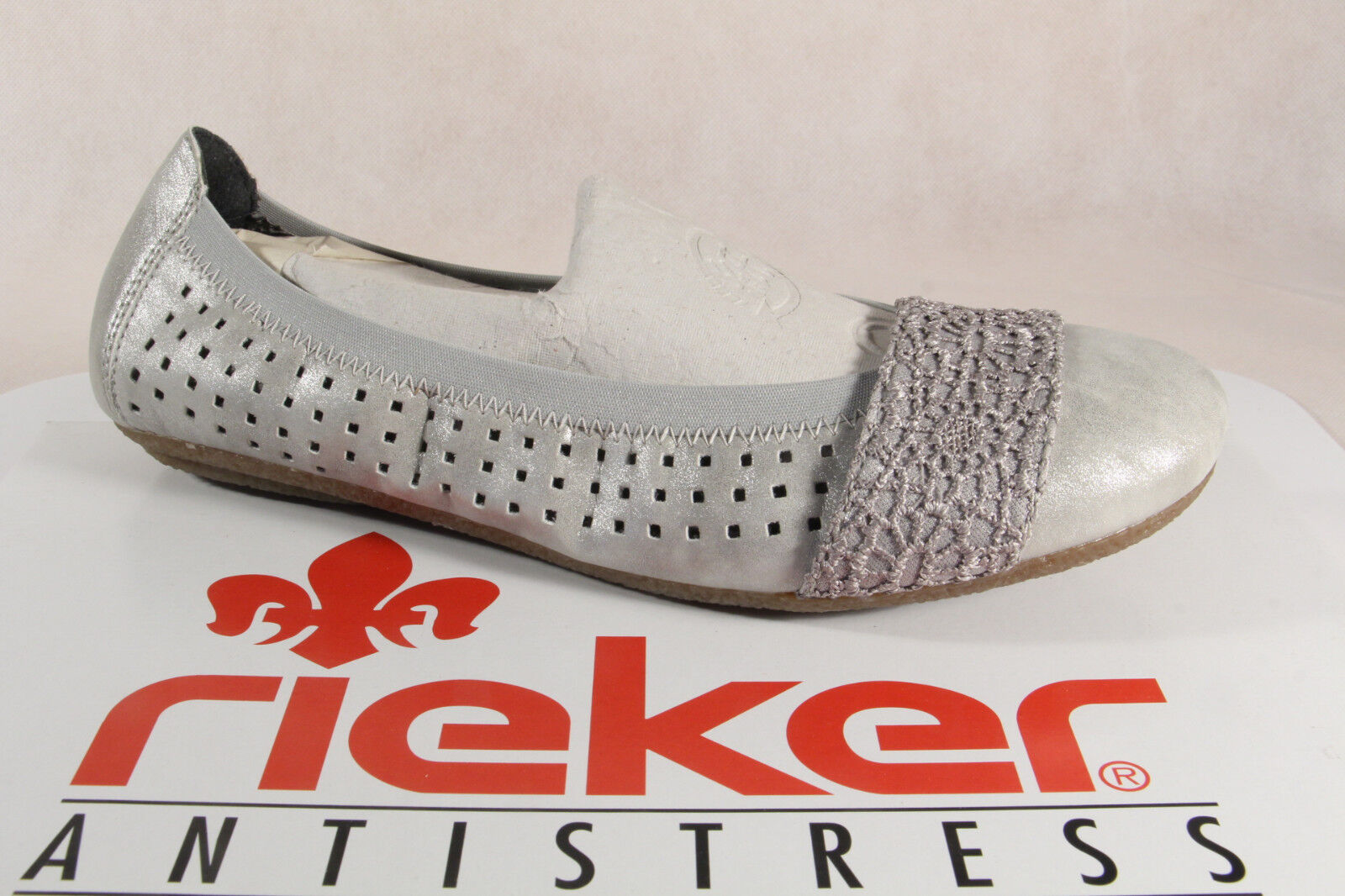 Rieker Ballerina 41487 Slippers Grey Soft Leather Insole, Rubber Sole New