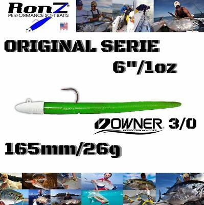 "RonZ PERFORMANCE SOFT BAITS ORIGINAL SERIES 6/"" 1oz 3x612L BLACK PEARL"