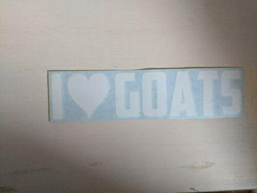 I LOVE GOATS Sticker Car Window Vinyl Decal Laptop Animal Heart Cute Pets Family
