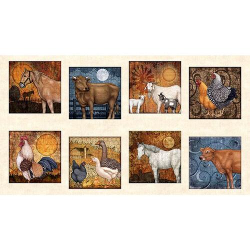 "Bountiful Farm Animal Cow Goat Rooster Scene Ecru Cotton Fabric QT 24/""X44/"" Panel"
