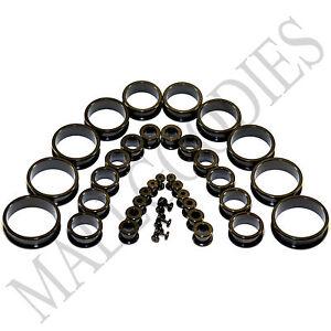 V007-Screw-on-fit-Black-Flesh-Tunnels-Ear-Plugs-Earlets-14G-2-034-38-41-45-50mm