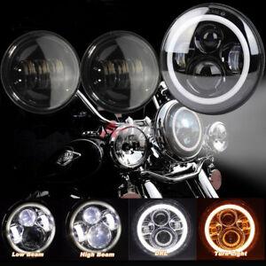 7-039-039-LED-SCHEINWERFER-60W-2x-4-5-039-039-ZUSATZSCHEINWERFER-fuer-Harley-DOT-Geprueft
