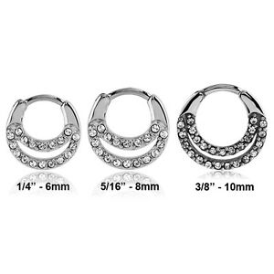 316L-Surgical-Steel-Septum-Clicker-Nose-Ring-Hoop-Clear-CZ-Choose-Your-Size-16G