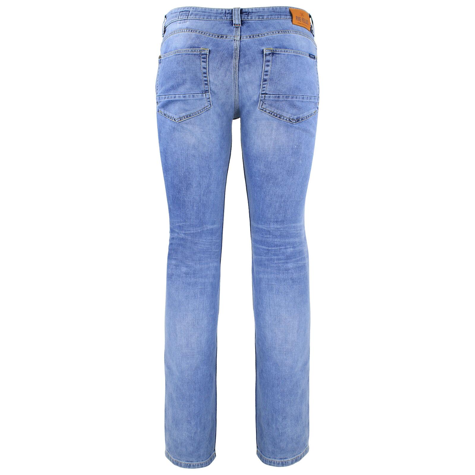Five Fellas Luuk Straight Fit Men's Jeans, Used Look, Candiani Denim, bluee