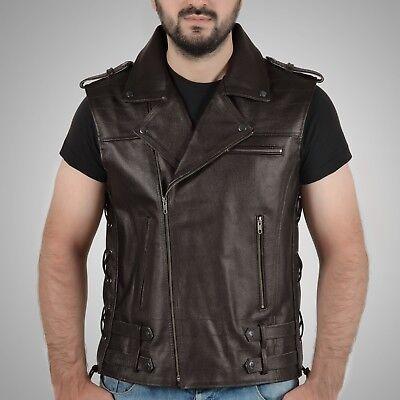 Men's Real Leather Brown Vintage Waistcoat Biker Cowhide Retro Motorcycle Fast