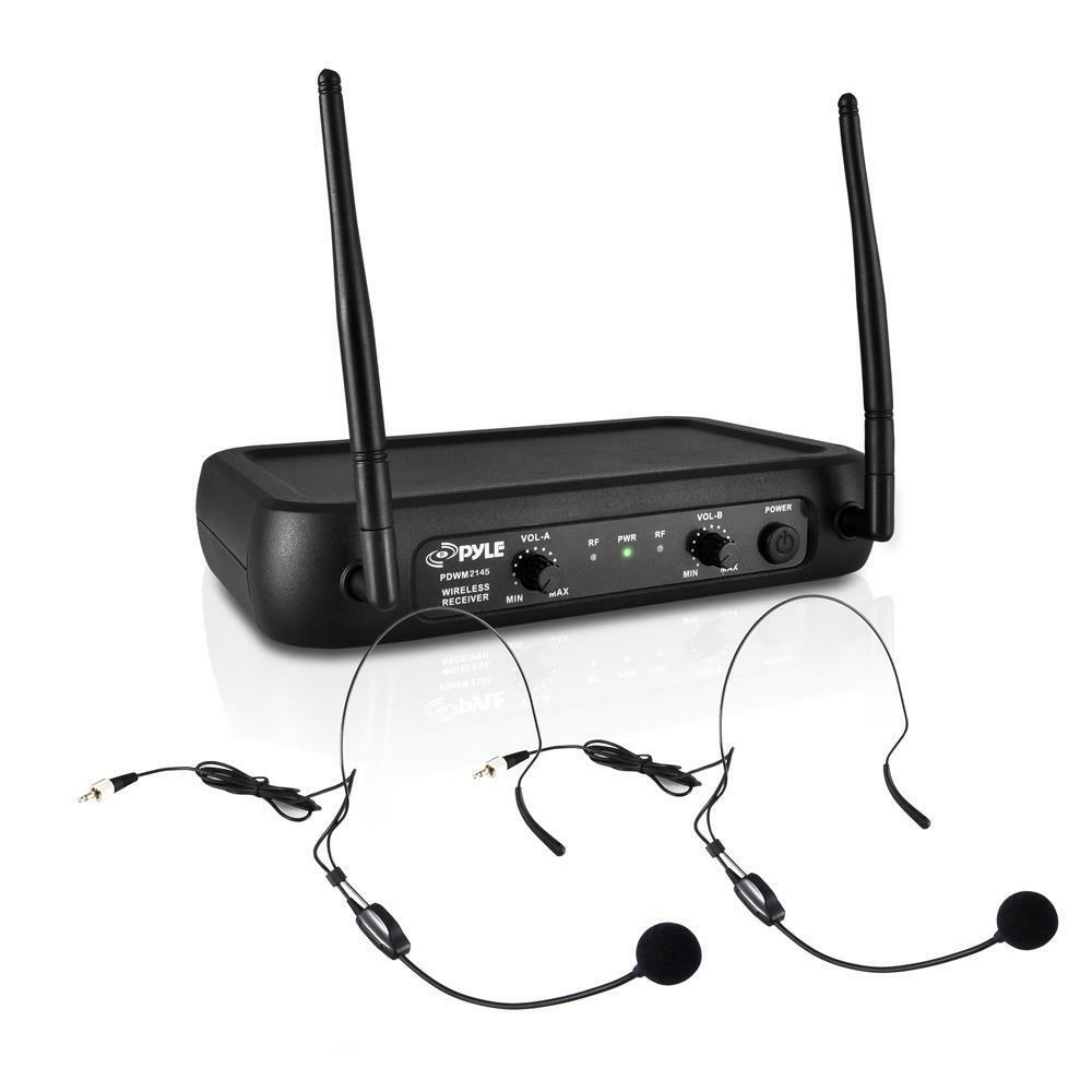 NEW Pyle PDWM2145 VHF Wireless Microphone System w  2 Lavaliers & 2 Headsets